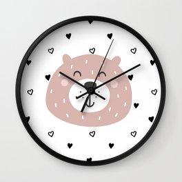 Scandiavian Cute Brown Bear Wall Clock