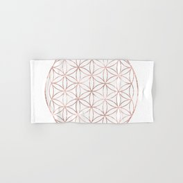 Mandala Rose Gold Flower of Life Hand & Bath Towel