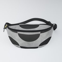 Black abstract 60s circles on concrete - Mix & Match with Simplicty of life Fanny Pack