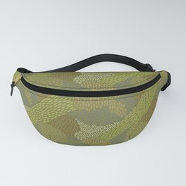 Abstract Brush Strokes, Olive, Apple Green, Brown Fanny Pack