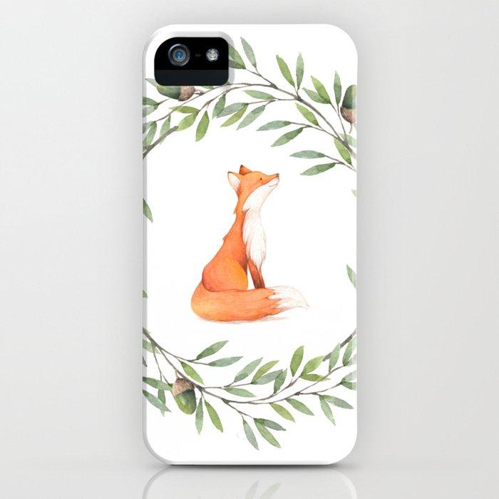 Cute Fox in Acorn Wreath iPhone Case