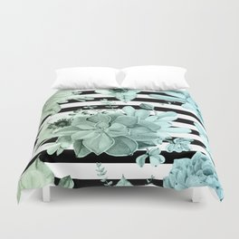 Succulents in the Garden Teal Blue Green Gradient with Black Stripes Duvet Cover