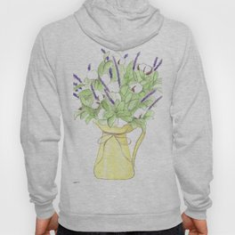Yellow pitcher vase of flowers, purple, farmhouse, country-home Hoody