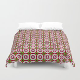 Tiled red and green pattern Duvet Cover