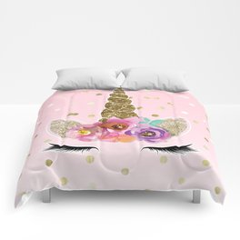 Floral Trendy Modern Unicorn Horn Gold Confetti Comforters