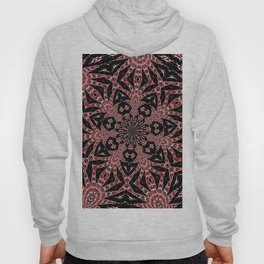 Intricate Black Red and White Kaleidoscope Hoody