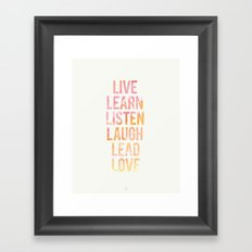 Life Words Framed Art Print