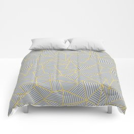 Ab Outline Gold and Grey Comforters