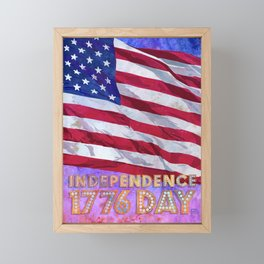 Fourth of July American Flag Independence Day 1776 Framed Mini Art Print