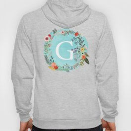 Personalized Monogram Initial Letter G Blue Watercolor Flower Wreath Artwork Hoody