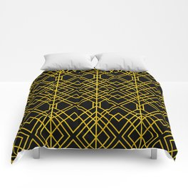 Chicago Cigar Bar Gold and Black Art Deco Comforters