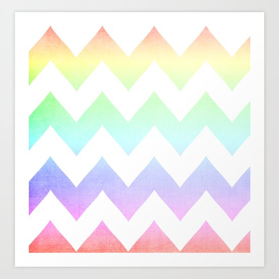 Watercolor Chevrons Art Print