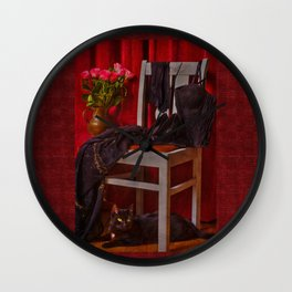 When will she come back? I am waiting .... a cat Wall Clock