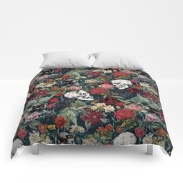 Distressed Floral with Skulls Pattern Comforters