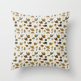 mushrooms & snails Throw Pillow