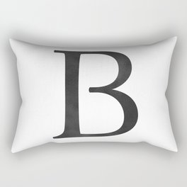 Letter B Initial Monogram Black and White Rectangular Pillow