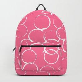 Circles Geometric Pattern Pink Bright White Backpack