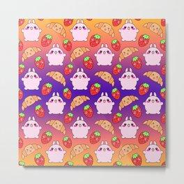Cute happy funny pink baby bunnies, sweet adorable yummy Kawaii croissants and red ripe summer strawberries cartoon purple orange pattern design Metal Print