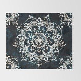 Glowing Spirit Mandala Blue White Throw Blanket