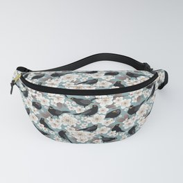Waiting for the cherries I // Blackbirds blue background Fanny Pack