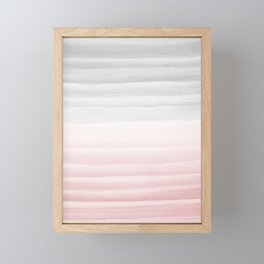 Touching Blush Gray Watercolor Abstract Stripe #1 #painting #decor #art #society6 Framed Mini Art Print