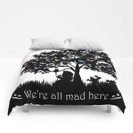 We're All Mad Here III - Alice In Wonderland Silhouette Art Comforters