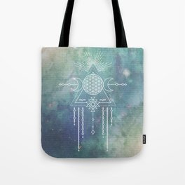 Mandala Flower of Life in Turquoise Stars Tote Bag