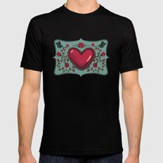 love and roses Mens Fitted Tee MEDIUM Black