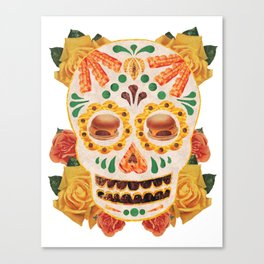 "Mexican Day of the Dead Bacon Sugar Skull ""Calavera de Comida"" Canvas Print"