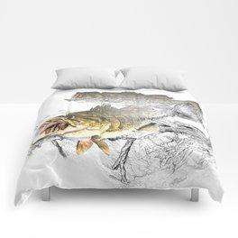 Largemouth Black Bass Fishing Art Comforters