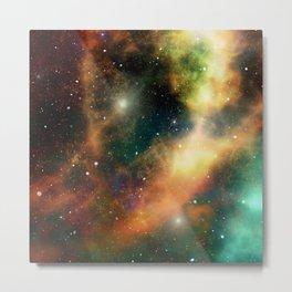 Teal orange gold universe galaxy nebula Metal Print