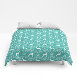 Italian Greyhound floral silhouette dog breed gifts minimal dog pattern art Comforters