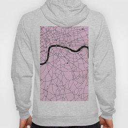 London Pink on Black Street Map Hoody