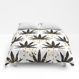 Stylized black palm leaves Comforters