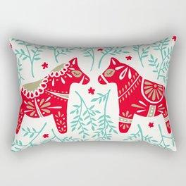 Swedish Dala Horses – Red & Mint Palette Rectangular Pillow