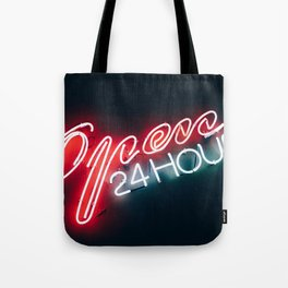 Open 24h Neon Sign Tote Bag