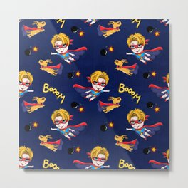 Boom Super-boy with his Dog and Navy Background Metal Print