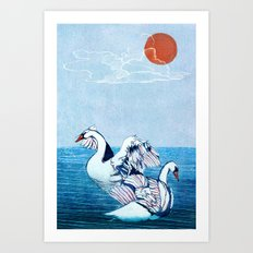 Swan Blues Art Print