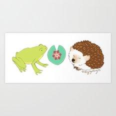 Hedgehog and Frog Art Print