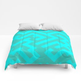 Cyan and Turquoise Diagonal Labyrinth Comforters