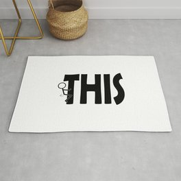 Fuck THIS Humping Stickman Black Typography Sarcasm Humor Rug
