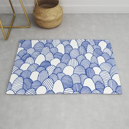 Striped Scallops - Blue Rug