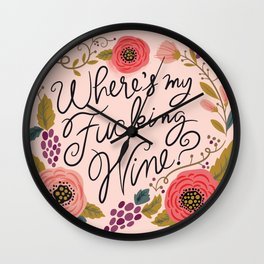 Pretty Swe*ry: Where's My F-ing Wine? Wall Clock