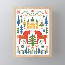 Scandinavian Folkstory - Red + Green Framed Mini Art Print
