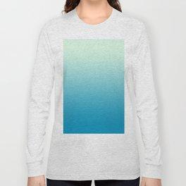 Ombre Hawaiian Ocean Blue Sea Green Gradient Motif Long Sleeve T-shirt