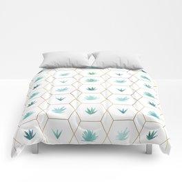 Geometric Succulents Comforters