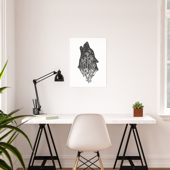 Adventure Wolf - Nature Mountains Wolves Howling Design Black on Pale Pink Poster