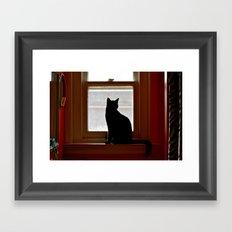 Salem in the window. Framed Art Print