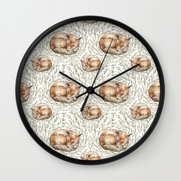 Sleeping foxes with leaves Wall Clock