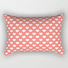 Living Coral & White Hearts Rectangular Pillow